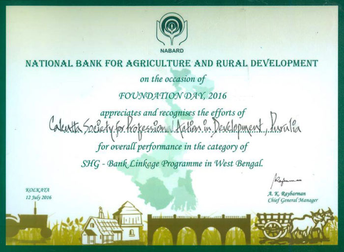 Certificate given by NABARD to SPADE for this project. Click to enlarge.